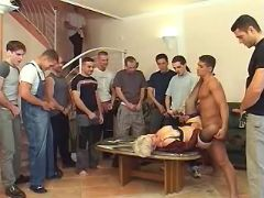 Men line up to bang milf