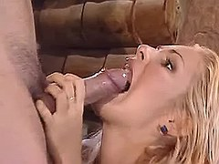 Sexy girl blowing stiff cock in bar