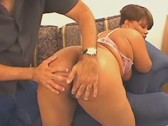 Ebony fatty shows her pussy and...