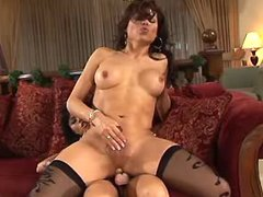 Strapon babe nails beautiful tranny