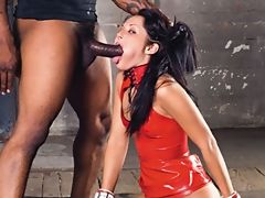 Mouth abused brunette babe by big...