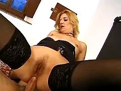 Blonde bounces on cock