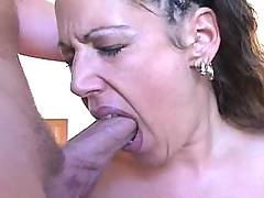 Slut gag on big dick