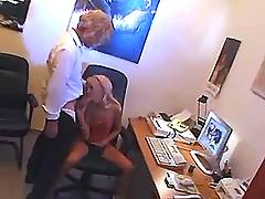 Teen secretary sucks cock