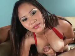 Hot asian babe titsfucks